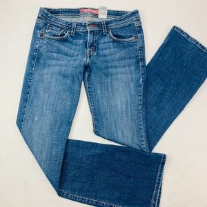 Levis 518 Womens Jeans 7M Blue Superlow Boot Cut
